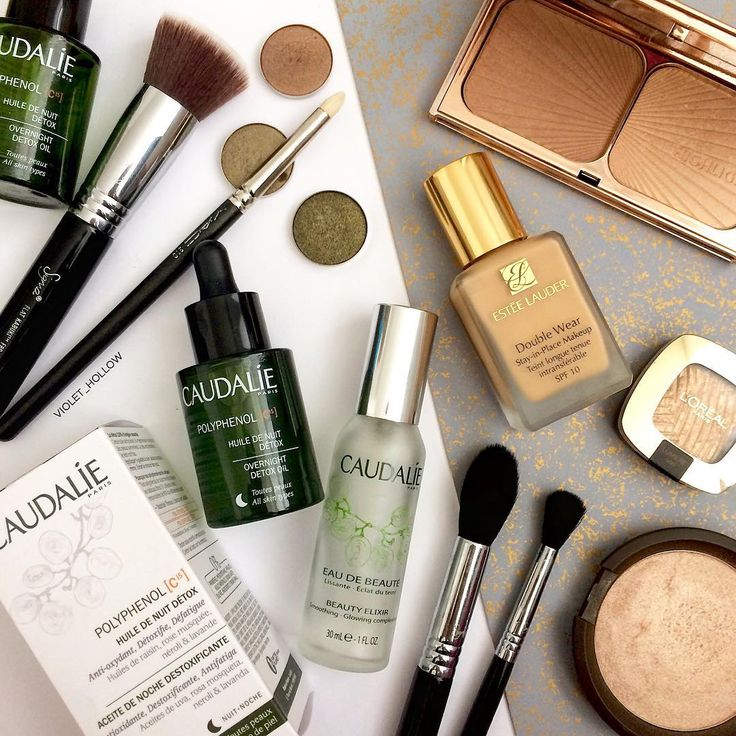 Caudalie skincare products and Estee Lauder foundation for beauty goals.