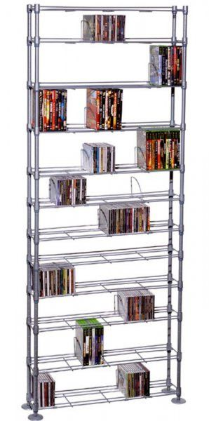 "Maxsteel 864 CD - 450 DVD / BluRay / Games 12-Tier Media Rack (Silver) (76.75""H x 33.38""W x 8.12""D)"