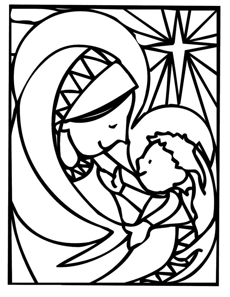 Christmas Coloring Pages for Adults   Mother Mary Christmas Coloring Pages