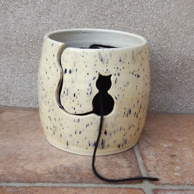 Yarn bowl ....knitting or crochet ....hand thrown ceramic pottery                                                                                                                                                                                 More