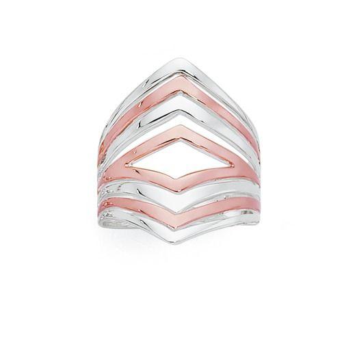 Sterling Silver & Rose Plate Multi-V Ring