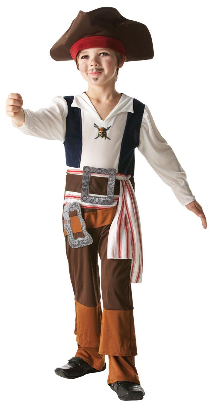 Déguisement Jack Sparrow™ garçon : Ce costume de Jack Sparrow pour enfant est sous licence officielle Disney™. Il se compose d'une combinaison et d'un chapeau avec bandana intégré (Chaussures non incluses)....