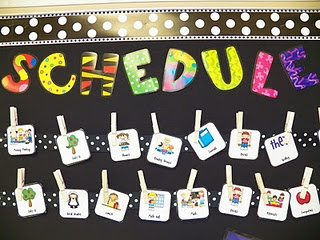 Clothespin schedule to ribbon for easy changes.  We love the Poppin' Pattens letters--especially on a black background!