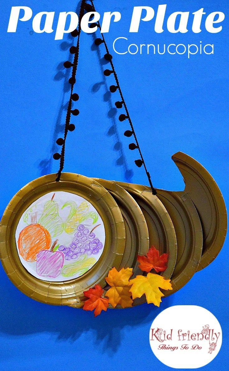 Paper Plate Cornucopia Craft for a Kid's Thanksgiving Craft