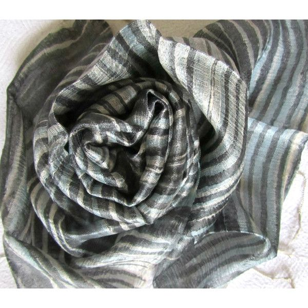 Grey Silk Scarf Hand Dyed Hand Woven Natural Pure Raw Silk Wedding Accessories Light Weight Batik Silk Scarf Handmade Wedding Gift For Her (€20) found on Polyvore featuring women's fashion, accessories, scarves, planetearthhandmade, silk scarf, orange silk scarves, shawl scarves, orange scarves, batik scarves and silk scarves