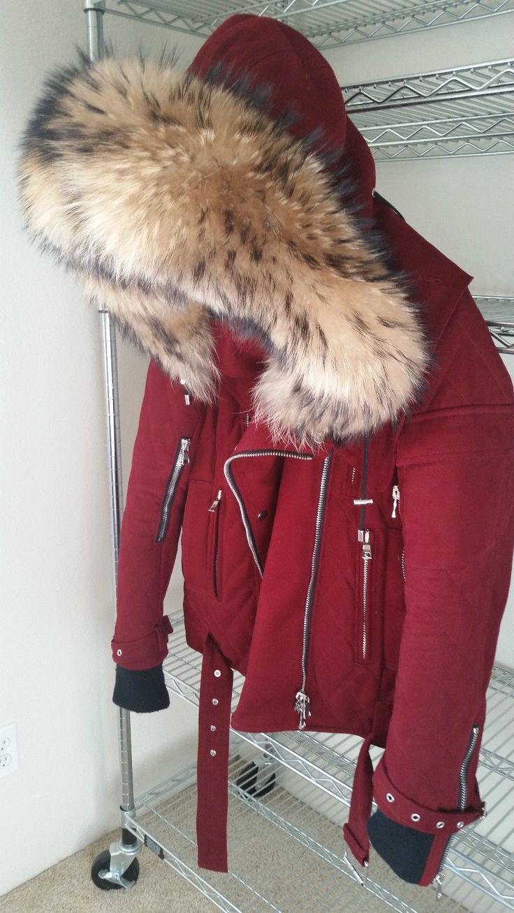 Balmain Bordeaux Red Fur Hood Heavy Thick Quilted Parka Jacket Coat | eBay
