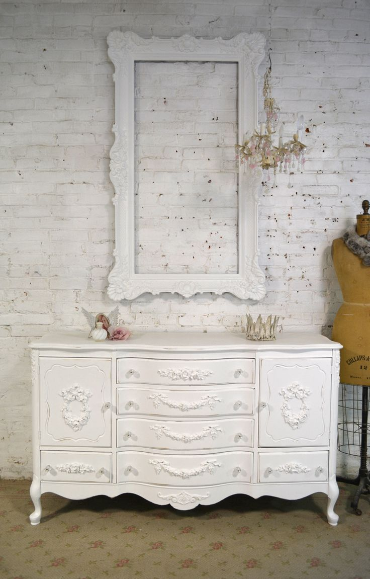 Painted+Cottage+Chic+Shabby+White+Romantic+French+Buffet+/+Serve+[SV628]+-+$595.00+:+The+Painted+Cottage,+Vintage+Painted+Furniture