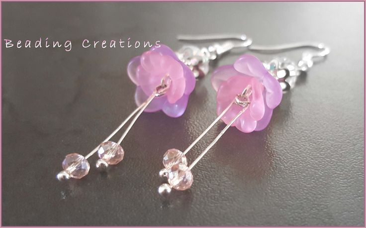 Acrylic Lucite Flowers and Crystals Drop Earrings available at: