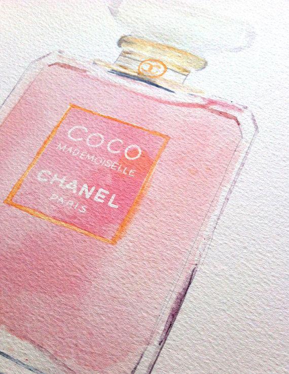 "Coco Mademoiselle, Watercolour Chanel Perfume bottle, 11x14"" giclée Print"
