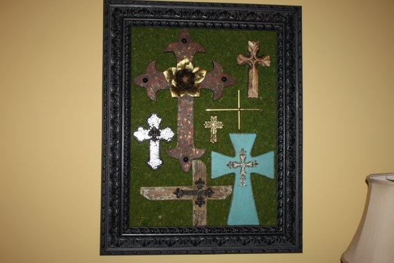 Decorative Wall Art w/ Crosses by rmjcreations on Etsy, $175.00: Wall Art, Crafts Ideas, Decor Wall, Decor Touch, Interiors Design, Decorative Walls