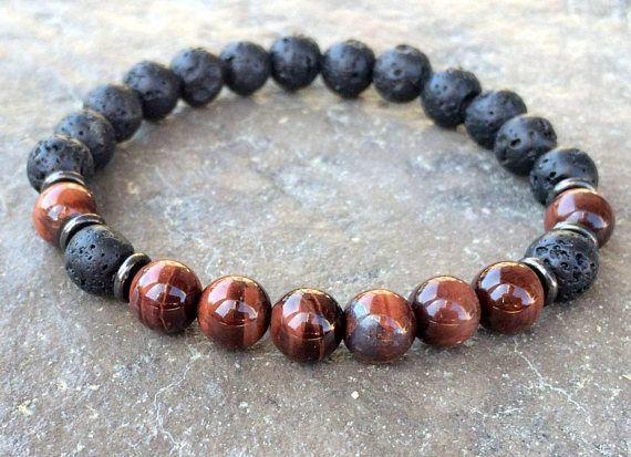 Men's Lava Stone and Red Tiger Eye Elastic Bracelet Men