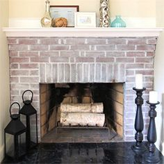 Revive your dated brick fireplace with this white wash tutorial