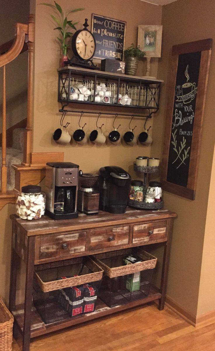 Outstanding DIY Coffee Bar Ideas for Your Cozy Home / Coffee Shop Cute Coffee Station Ideas - S Coffee Bars In Kitchen, Coffee Bar Home, Home Coffee Stations, Coffee Wine, Coffee Theme Kitchen, Office Coffee Station, Cafe Themed Kitchen, Coffee Station Kitchen, Coffee Bar Design