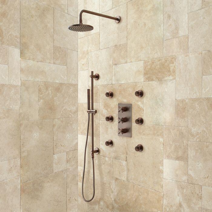 Exira Thermostatic Shower System Hand Sprayer 6 Body
