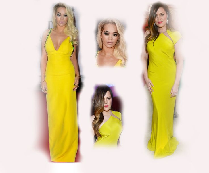 yellow long dress, Rita Ora VS Khloe Kardashian Odom fashion diva who-wore-it-better celeb celebrity