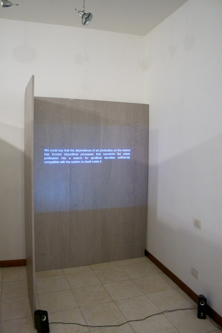 allestimento della galleria, mostra David Goldenberg, The Scenarios of Post Autonomy.