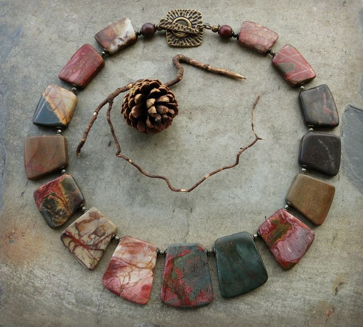 Picasso Jasper Collar Necklace, tribal statement choker necklace