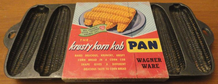 Antique 1920 Wagner Ware USA Krusty Korn Kob Corn Bread Cast Iron Pan W/ Original Cardboard Box Sleeve Vintage Kitchen Collectible Cob Bake by ForestsVintageShop on Etsy