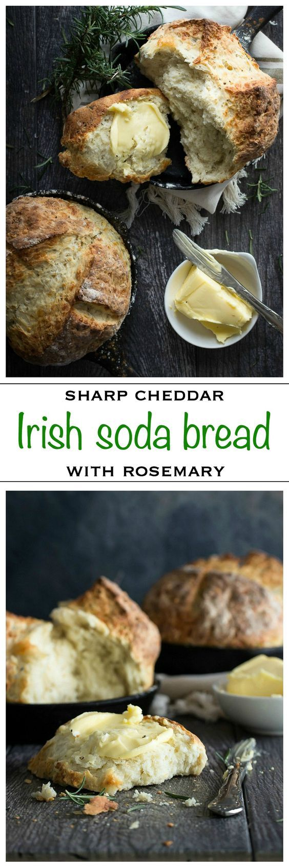 Amazing Irish Soda Bread with sharp cheddar cheese and fresh rosemary | Foodness Gracious