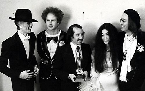 icons. david bowie, art garfunkle, paul simon, yoko ono and john lennon.