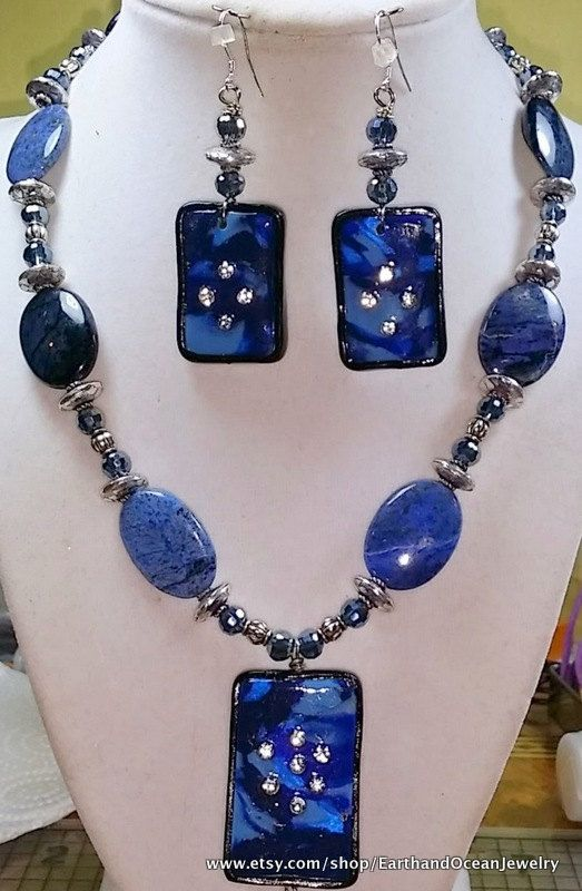 Midnight Blues Sodalite Necklace Set by EarthandOceanJewelry, $30.00