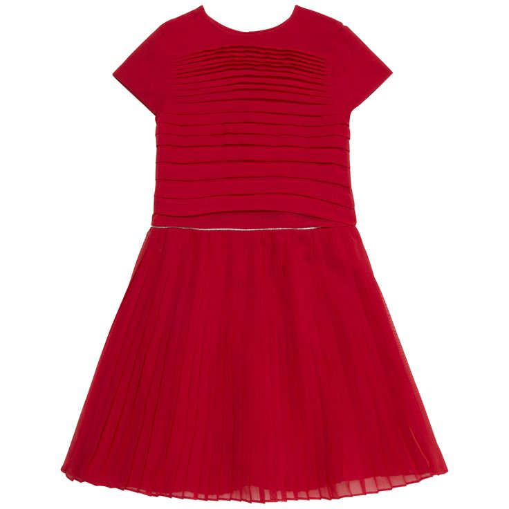Pleated red dress  #outfit #FW15 #fall #winter #kidsfashion #red #dress