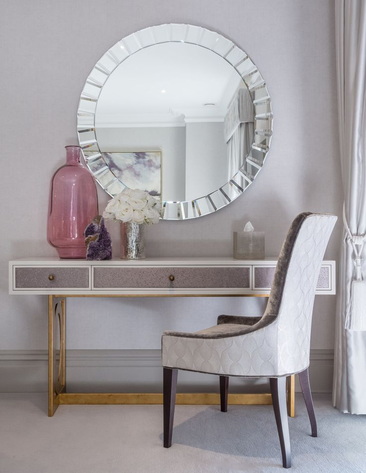Emitting a soft glow of glamour in Her bedroom dressing area with these accents of pink and gold; the light femininity continued through into the dressing table, beautifully paired with this bespoke Osborne & Little fabric chair. #interiordesign #luxurylife #luxury #london #luxuryproperty #luxuryhomes #londonproperty #luxuryinteriors