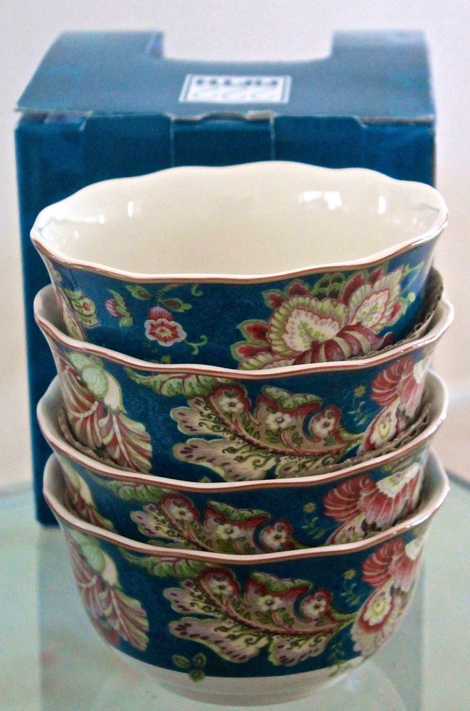 222 FIFTH GABRIELLE TEAL BOWLS CEREAL SOUP SET 4 NEW IN BOX TEAL MAROON FLORAL #222FIFTH