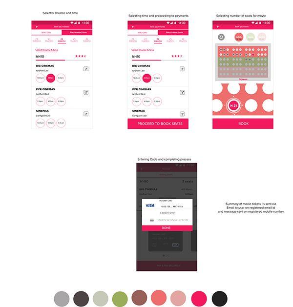Movie tickets booking app UI on Behance