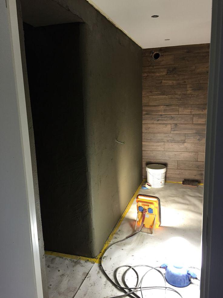 Förbereder väggar med fix och därefter kommer marmorputs, Tadelakt.
