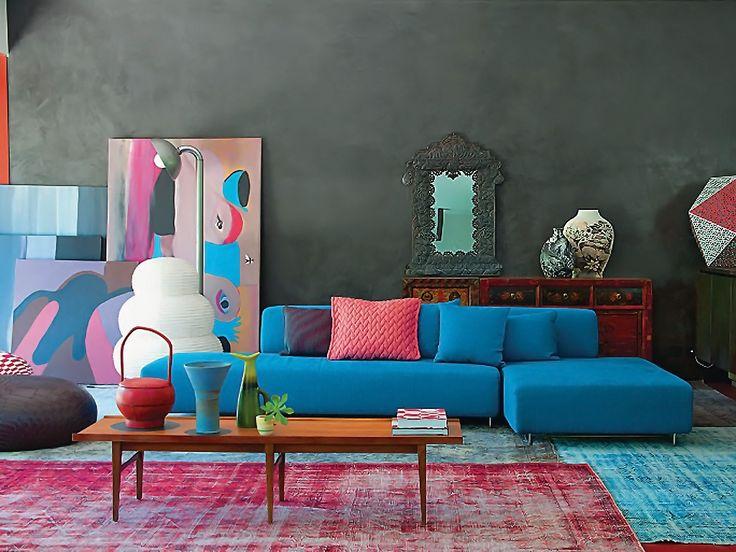 Sala De Estar Azul ~ Sala de Estar nas Cores Rosa e Azul  Detalhes de decoração