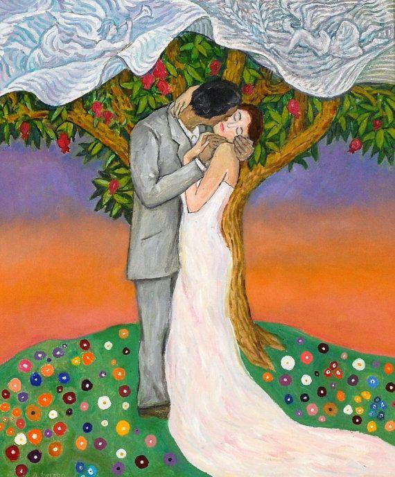 Nozze bacio - arte - stampa arruffato, amanti, amore, arte, pittura, matrimonio ispirato opere d'arte di Jonathan Alla