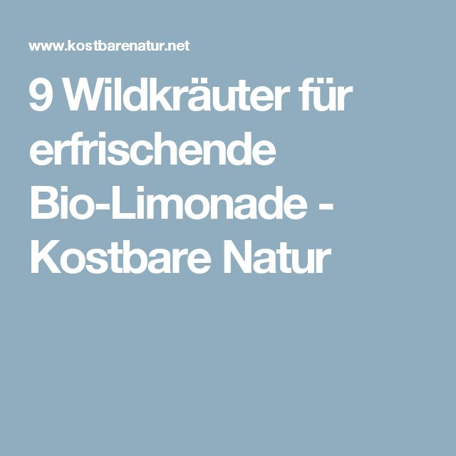 9 Wildkräuter für erfrischende Bio-Limonade - Kostbare Natur
