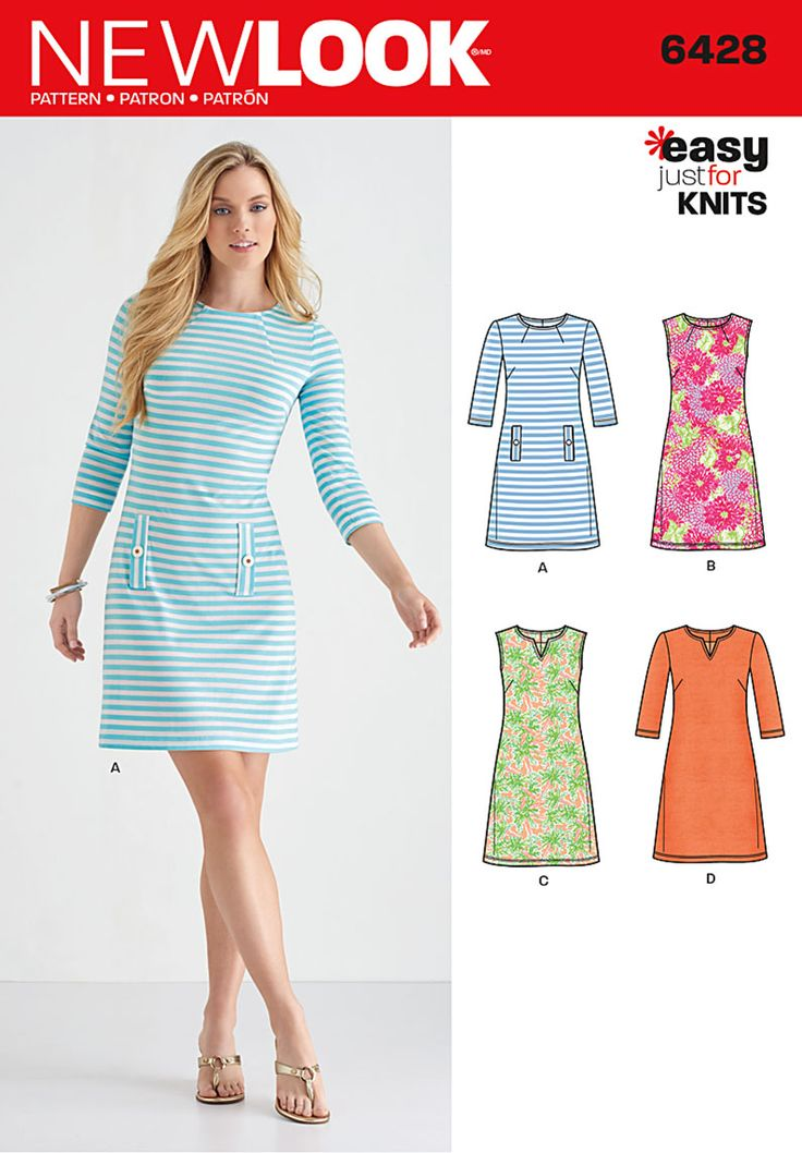 Make this stylish and comfy knit dress! Staright from the latest New Look pattern collection, Simplicity #sewing #pattern 6428
