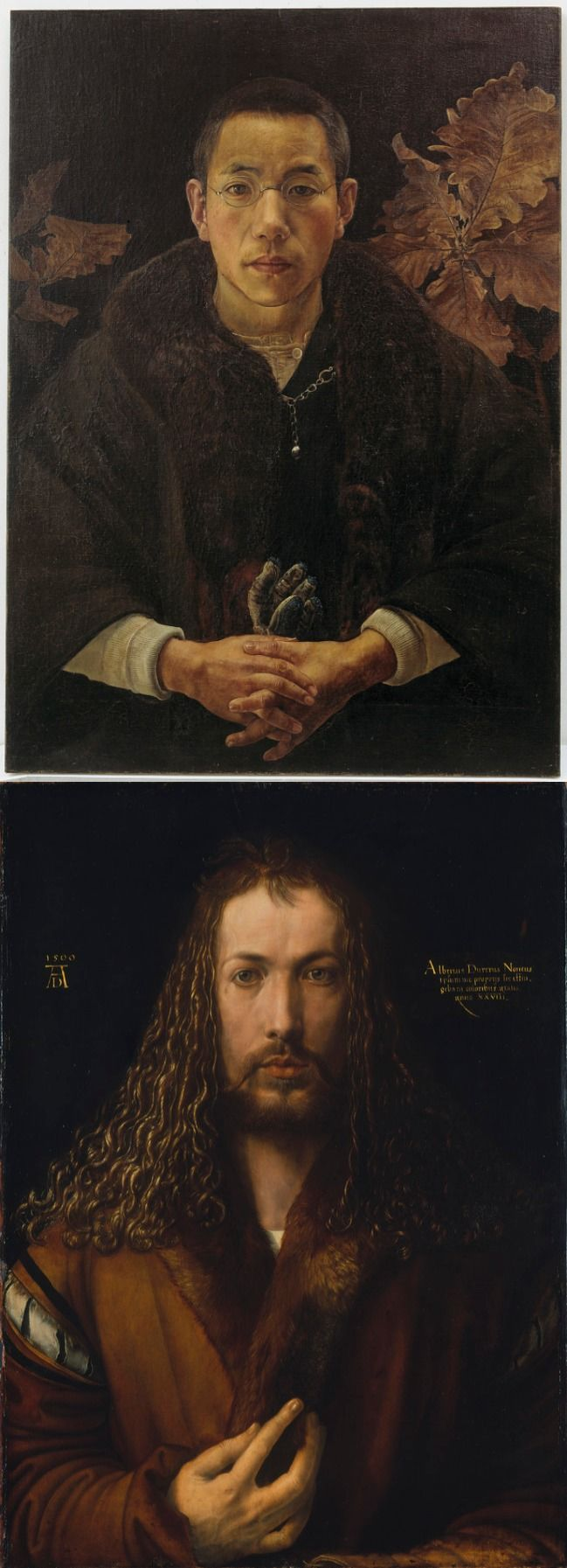 The 1917 self-portrait of Kohno Michisei in our collection was modeled after Albrecht Durer's 1500 self-portrait (bottom). Look at the colors, shapes, and lines of the two portraits. How are they similar? What are the artists trying to convey with their portraits? Top: S1998.115 http://www.asia.si.edu/collections/singleObject.cfm?ObjectNumber=S1998.115 Bottom: http://www.pinakothek.de/en/albrecht-duerer/self-portrait-fur-trimmed-robe #FSMiniLesson