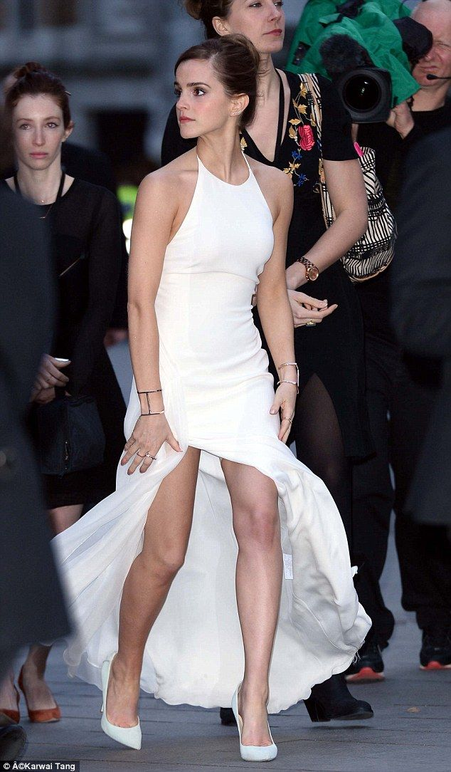 Slimming secret: Emma Watson accidently flashed her slimming underwear at the Noah movie premiere last night. She's naturally slender, but even she needed a little help to look and feel her best.