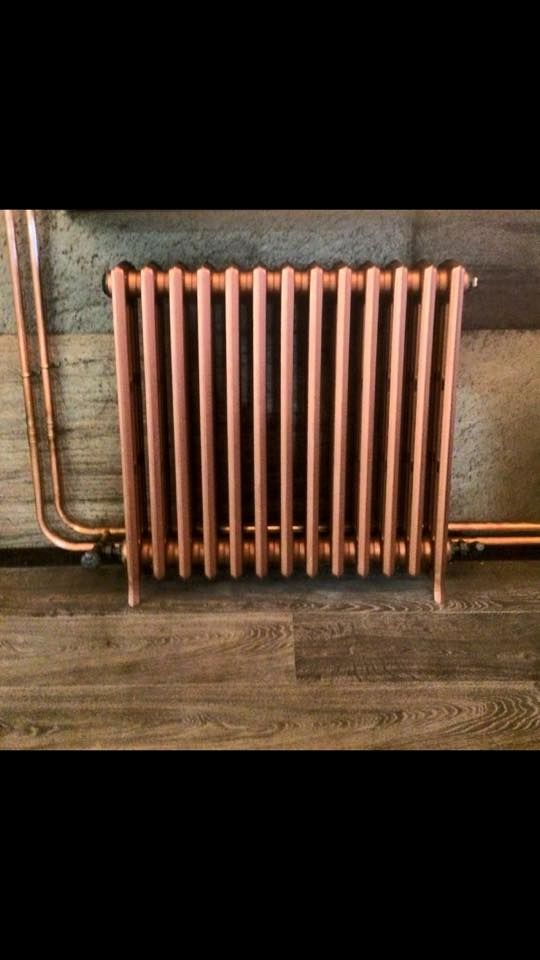 Porter's Paints copper paint used with this cast iron radiator in a new Dublin city centre restaurant