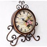 Amazon.com: European Style Antique Retro Vintage-inspired Wrought Iron Craft Table Clock Home Decor (Rose) ¡­: Home & Kitchen