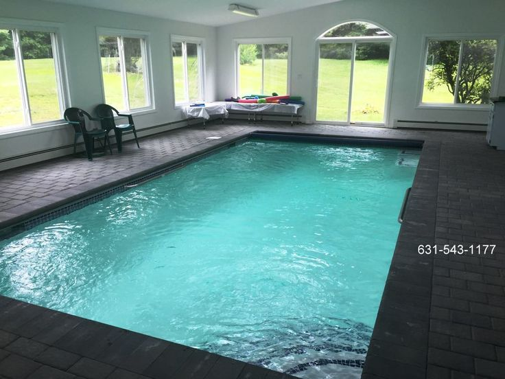 Indoor gunite swimming pool with auto cover built in Glenhead, Nassau County, Long Island NY