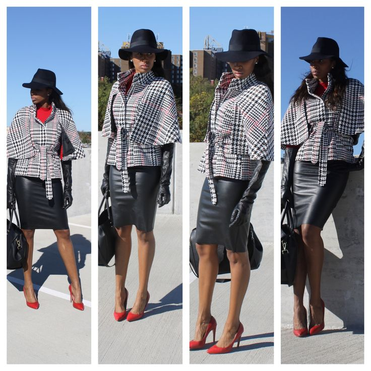 Olivia Pope Inspired (Cape and Leather) #cape #fedora #leathergloves #newyorkandcompany #hm #aldo www.thesportsfashionista.com