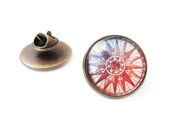 Compass - big lapel pin, adventure travell map vintage, 20mm glass dome cabochon, antique bronze brooch, astronomical lapel pin, blue red