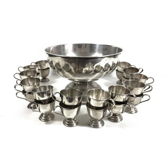 Vintage Silverplate Punch Bowl Set with 24 Punch Cups and