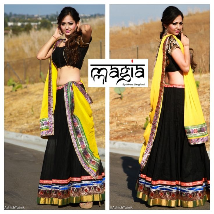 Black is the new green...This lightweight Black cotton lehenga is perfect for Dandiyas and Mehendis!