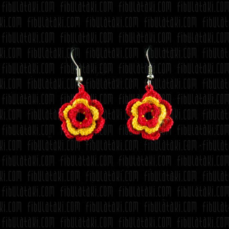 Fibula Takı - Çeyiz Sandığı Serisi / Küpe - örgü - dantel - kırmızı, sarı