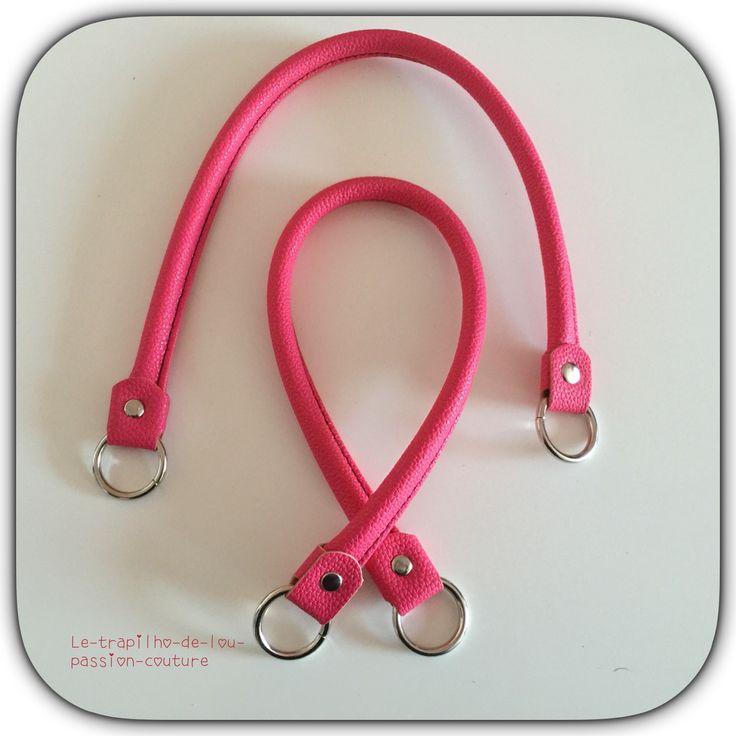 1 paire d'anses/poignées de sac Skai rose : Fermoirs sac, porte-monnaie par le-trapilho-de-lou-passion-couture