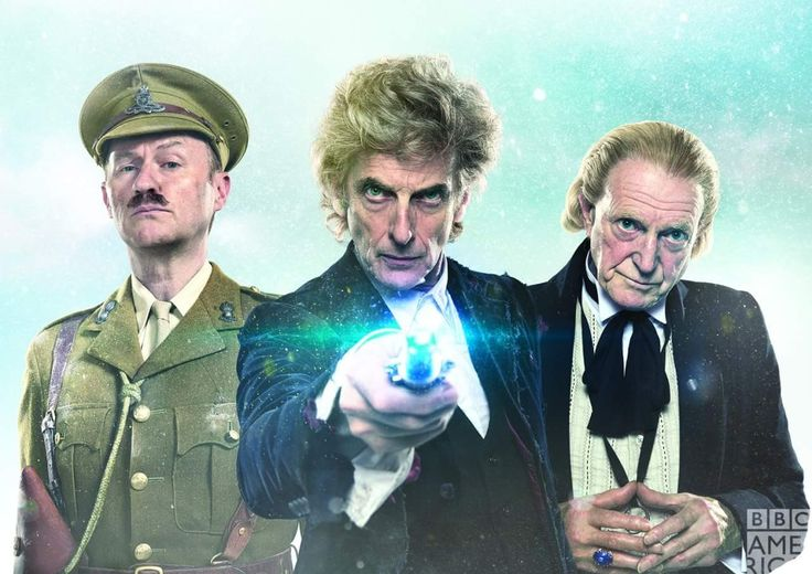 Dr. Who Christmas Special 'Twice Upon a Time'. Peter Capaldi, David Bradley, and Mark Gatiss.