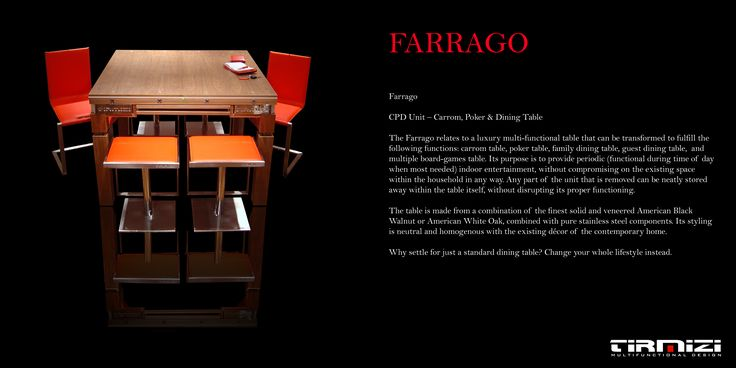 FARRAGO  CPD Unit – Carrom, Poker & Dining Table  The Farrago relates to a luxury multi-functional table that can be transformed to fulfil the following functions: carrom table, poker table, family dining table, guest dining table, and multiple board-games table. Its purpose is to provide periodic (functional during time of day when most needed) indoor entertainment, without compromising on the existing space within the household in any way. Any part of the unit that is removed can be neatly…