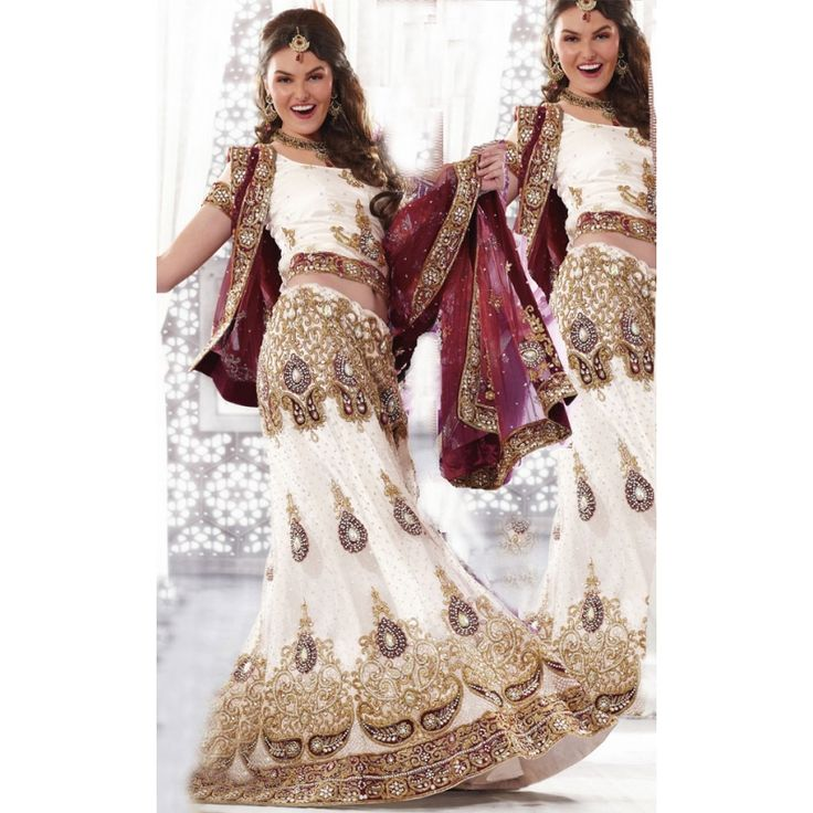 White Indian Wedding Dresses: Designer Indian White Lengha