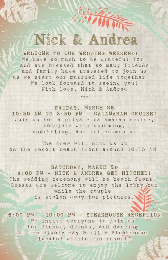 Destination Wedding Itinerary designed to by 4WeddingWelcomeBags, $1.00