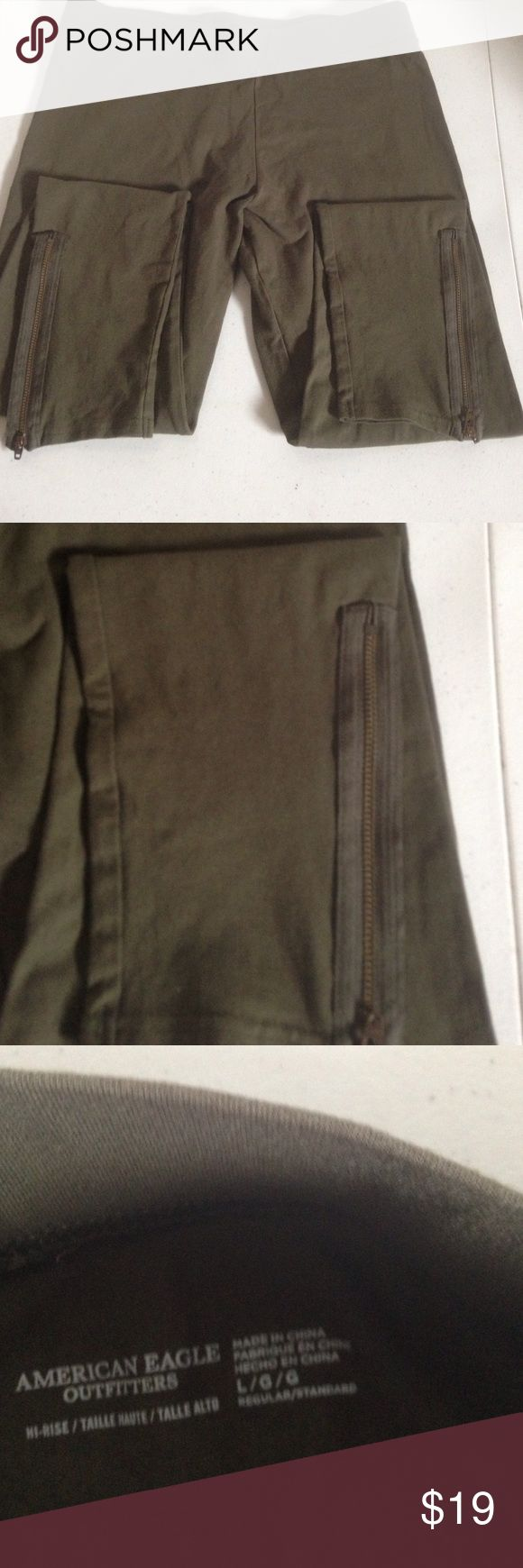 American Eagle Outfitters Hi-Rise Leggings Dark Green Leggings with zipper detail at the ankle American Eagle Outfitters Pants Leggings